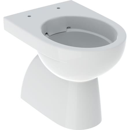 WC au sol à fond creux Geberit Renova, sortie verticale, forme semi-fermée, Rimfree