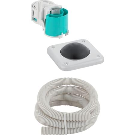 Sistema de descarga Geberit para inodoros con accionamiento de descarga neumático, descarga simple, pulsador encastrado en el suelo