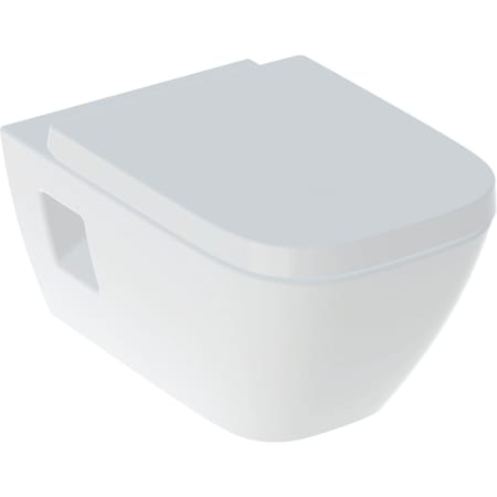 Pack WC suspendu à fond creux Geberit Renova Plan, semi-caréné, Rimfree, avec abattant WC