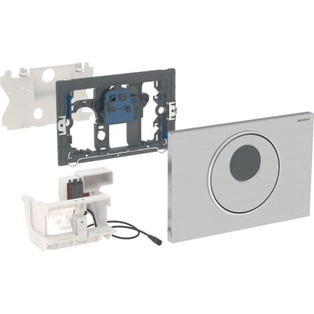 Geberit uređaj za ispiranje WC-a sa elektronskim aktiviranjem ispiranja, mrežno napajanje, dvokoličinsko ispiranje, tipka za aktiviranje Sigma10, automatsko / beskontaktno / ručno