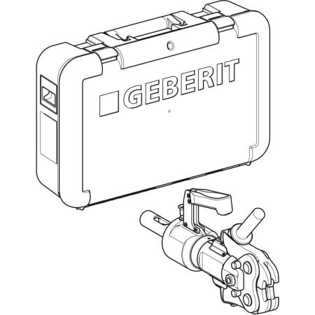 Cylinder hydrauliczny Geberit ze szczękami pośrednimi [4], w walizce