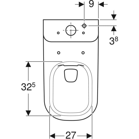Geberit Smyle floor-standing WC for close-coupled exposed cistern, washdown, semi-shrouded, Rimfree