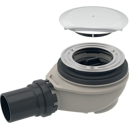 Siphon de douche Geberit d90, avec cache pour ouverture d'évacuation, garde d'eau 50 mm, sortie en PE