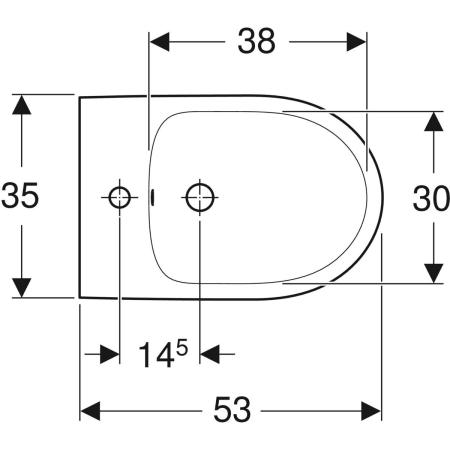 Geberit Selnova floor-standing bidet, back-to-wall, semi-shrouded