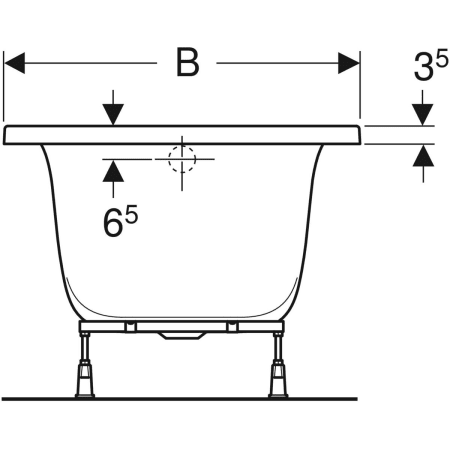 Geberit rectangular bathtub Rekord, with feet