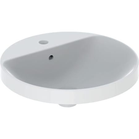 Lavabo ad incasso Geberit VariForm rotondo, con piano per foro rubinetto