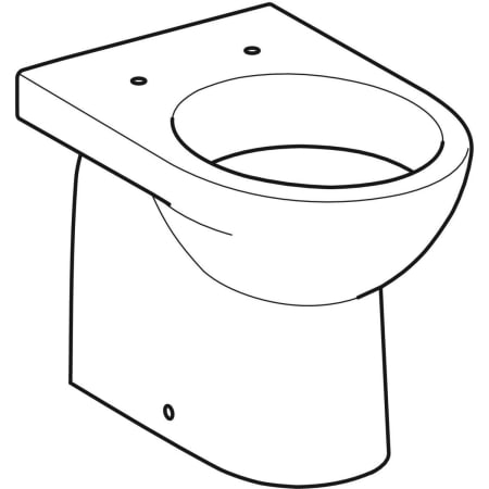 Geberit Selnova floor-standing WC, washdown, back-to-wall, horizontal outlet, semi-shrouded