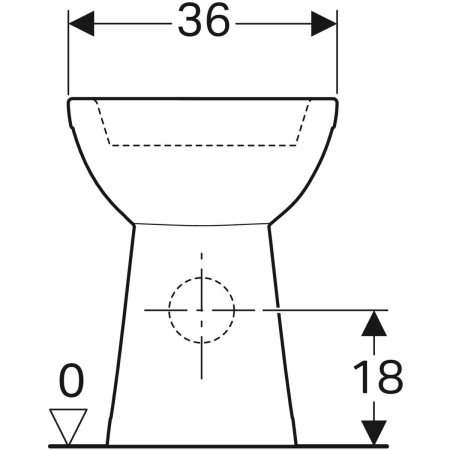 Geberit Selnova Comfort floor-standing WC for close-coupled exposed cistern, washdown, horizontal outlet, raised