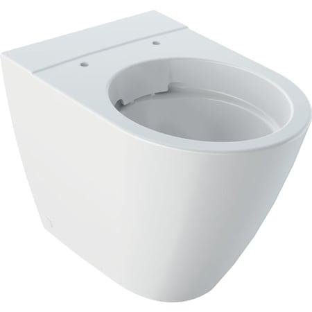 Stojąca miska WC, lejowa Geberit iCon, przylegająca do ściany, ukryte mocowania, Rimfree