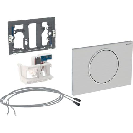 Geberit uređaj za ispiranje WC-a sa elektronskim aktiviranjem ispiranja, mrežno napajanje, jednokoličinsko ispiranje, tipka za aktiviranje Sigma10, za mehanizam za podizanje, ručno