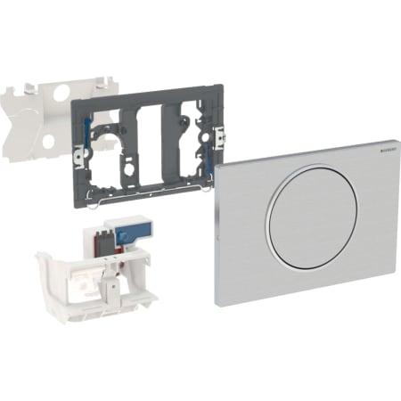 Geberit uređaj za ispiranje WC-a sa elektronskim aktiviranjem ispiranja, mrežno napajanje, jednokoličinsko ispiranje, tipka za aktiviranje Sigma10, za mehanizam za podizanje, radiotalasno