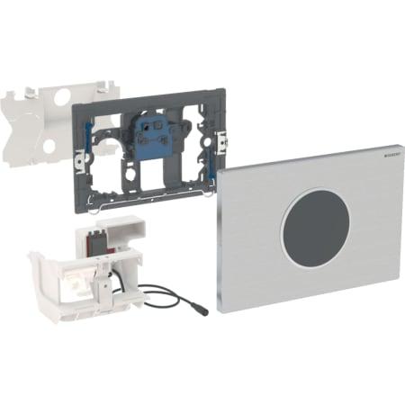 Geberit uređaj za ispiranje WC-a sa elektronskim aktiviranjem ispiranja, mrežno napajanje, dvokoličinsko ispiranje, tipka za aktiviranje Sigma10, automatsko / beskontaktno / pričvršćuje se vijcima