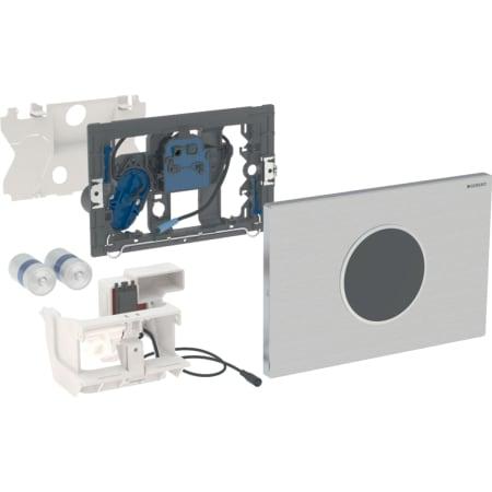 Geberit uređaj za ispiranje WC-a sa elektronskim aktiviranjem ispiranja, baterijsko napajanje, dvokoličinsko ispiranje, tipka za aktiviranje Sigma10, automatsko / beskontaktno / pričvršćuje se vijcima