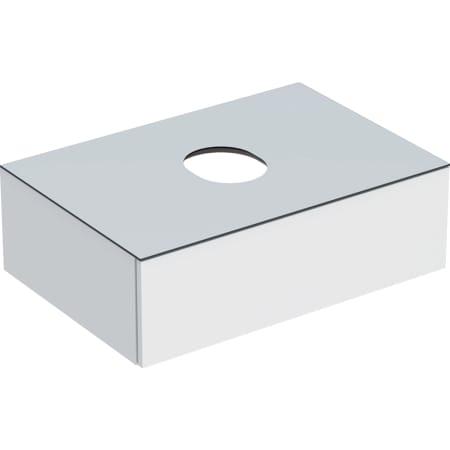 Geberit VariForm -alakaappi tason päälle asennettavalle pesualtaalle, yhdellä laatikolla, laskutasolla ja vesilukolla