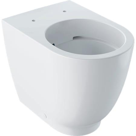 Stojąca miska WC, lejowa Geberit Acanto, podwyższona, przylegająca do ściany, ukryte mocowania, Rimfree