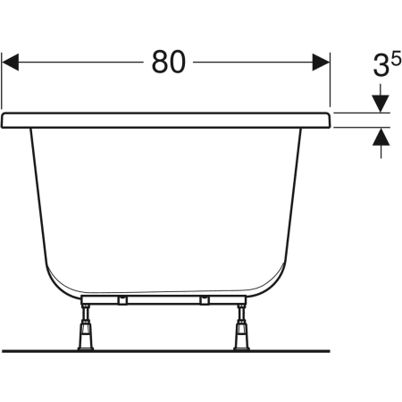 Geberit rectangular bathtub Supero, duo, with feet