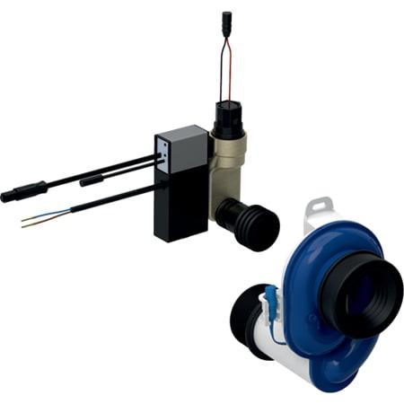 Sistema de descarga Geberit para urinarios, con accionamiento de descarga electrónico, servicio de red, visto, oculto