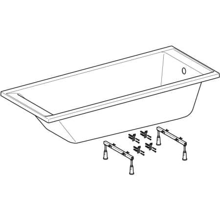 Geberit rectangular bathtub Supero, with feet