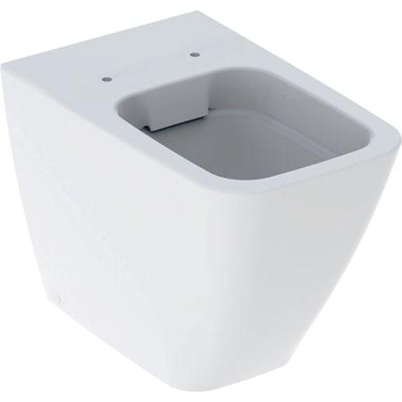 Stojąca miska WC Geberit iCon Square, lejowa, przylegająca do ściany, ukryte mocowania, Rimfree