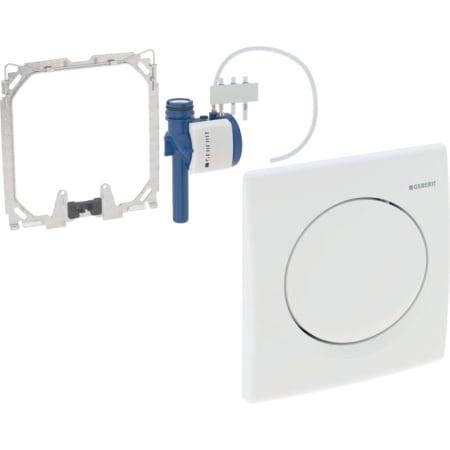 Geberit Urinalsteuerung mit pneumatischer Spülauslösung, Betätigungsplatte aus Kunststoff, Basic