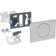 Geberit uređaj za ispiranje WC-a sa elektronskim aktiviranjem ispiranja, baterijsko napajanje, jednokoličinsko ispiranje, tipka za aktiviranje Sigma10, za mehanizam za podizanje, radiotalasno