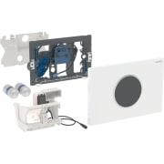 Geberit uređaj za ispiranje WC-a sa elektronskim aktiviranjem ispiranja, baterijsko napajanje, dvokoličinsko ispiranje, tipka za aktiviranje Sigma10, automatsko / beskontaktno