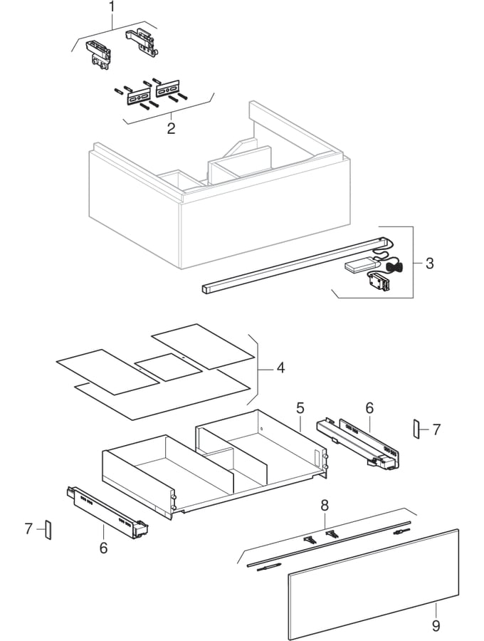 Underskabe til håndvask, med en skuffe (Geberit Xeno², 420)