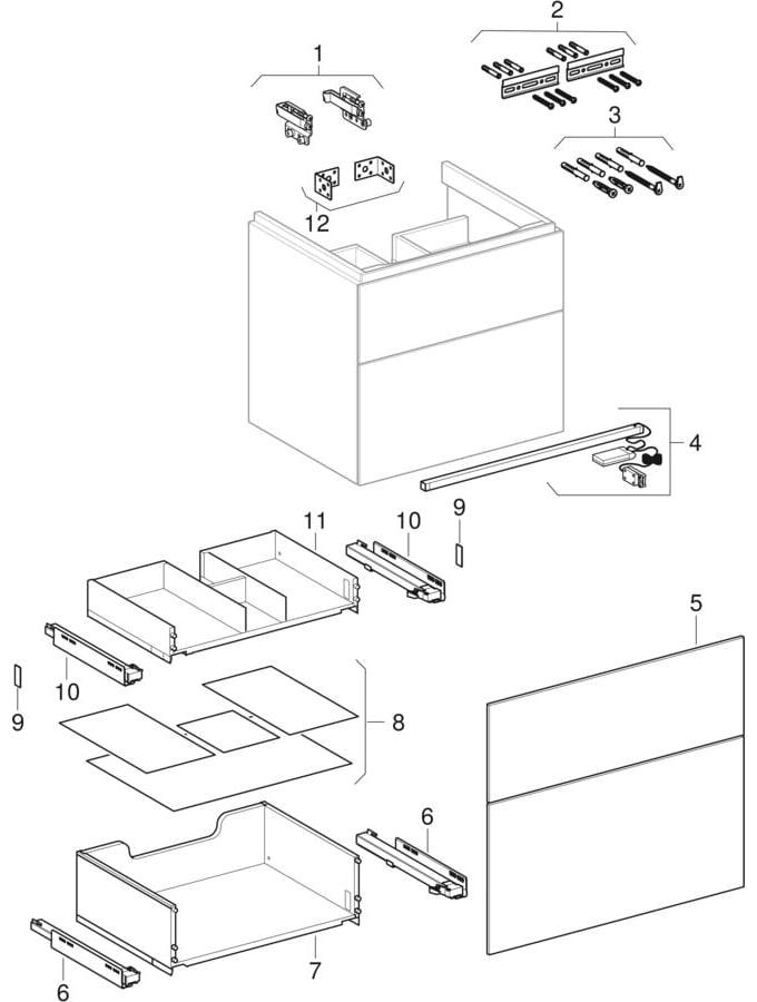 Underskabe til håndvask, med to skuffer (Geberit Xeno², 420)
