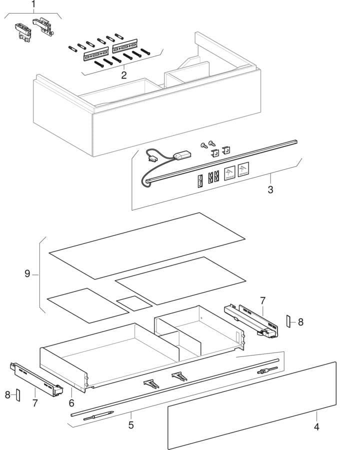 Underskabe til håndvask med fralægningsplads og en skuffe (Geberit Xeno², 420)