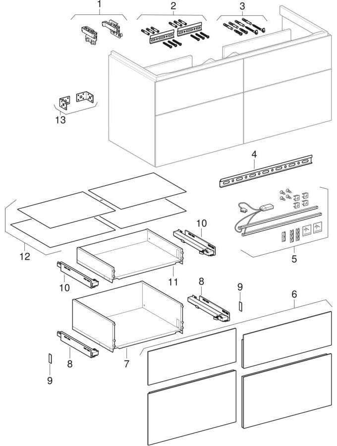 Underskabe til håndvask, med fire skuffer (Geberit Xeno², 420)