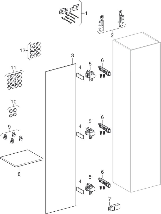 Højskabe med en låge (Geberit Xeno², 420)