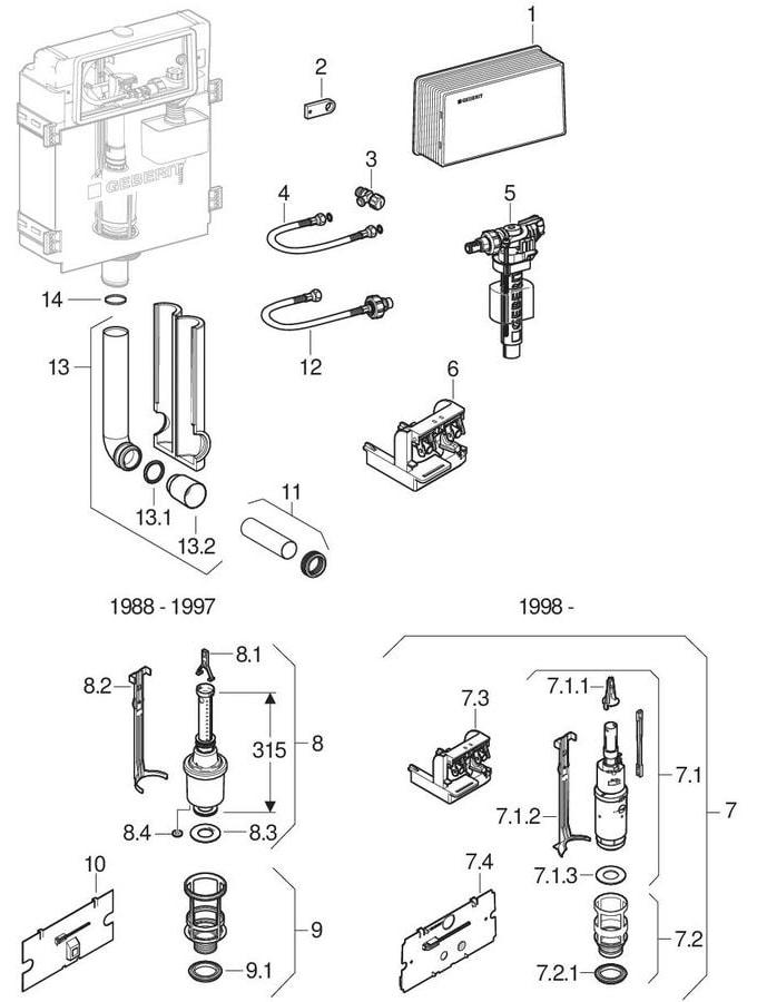 Twinline inbouwreservoirs 12 cm (UP130, 110.800)