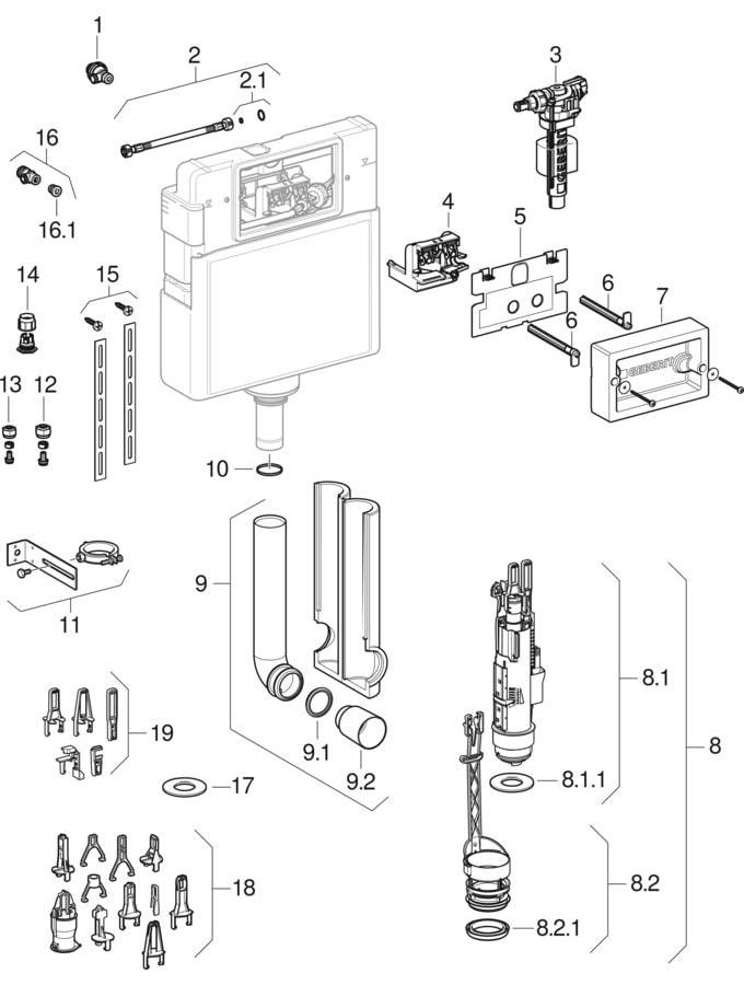 Delta concealed cisterns 12 cm (UP100)