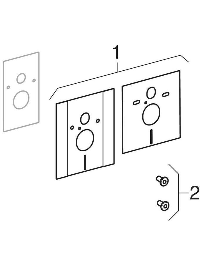 Afdekplaten met geluidsisolatieset, voor Geberit Duofix element voor wand-wc, wc in hoogte verstelbaar