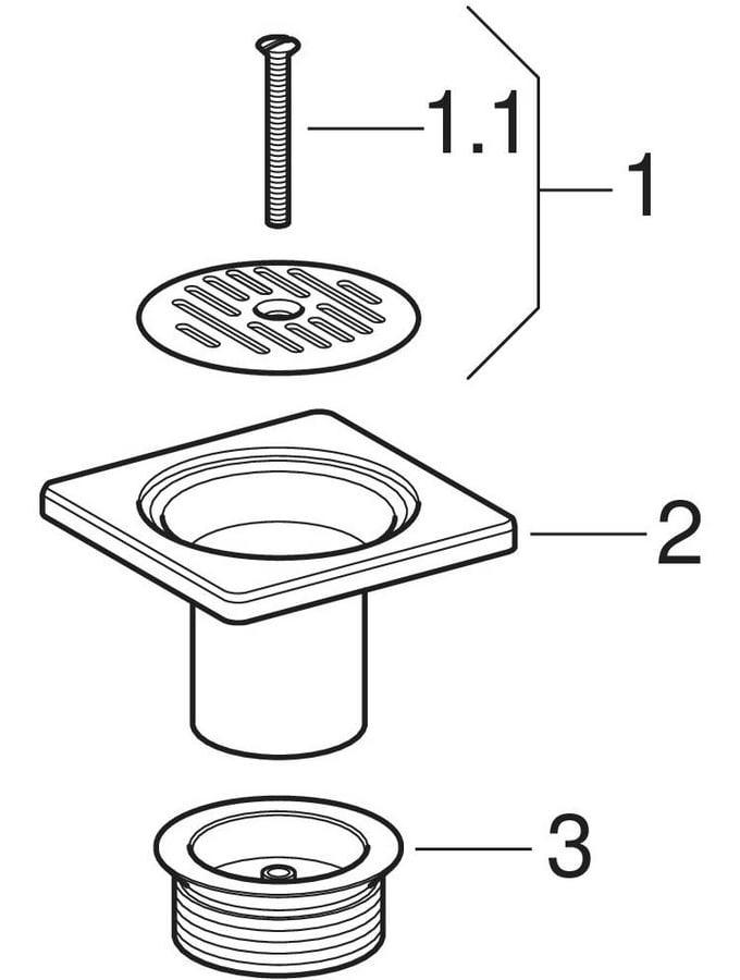 Bondes pour douche de plain-pied avec grille fentes 10 x 10 cm