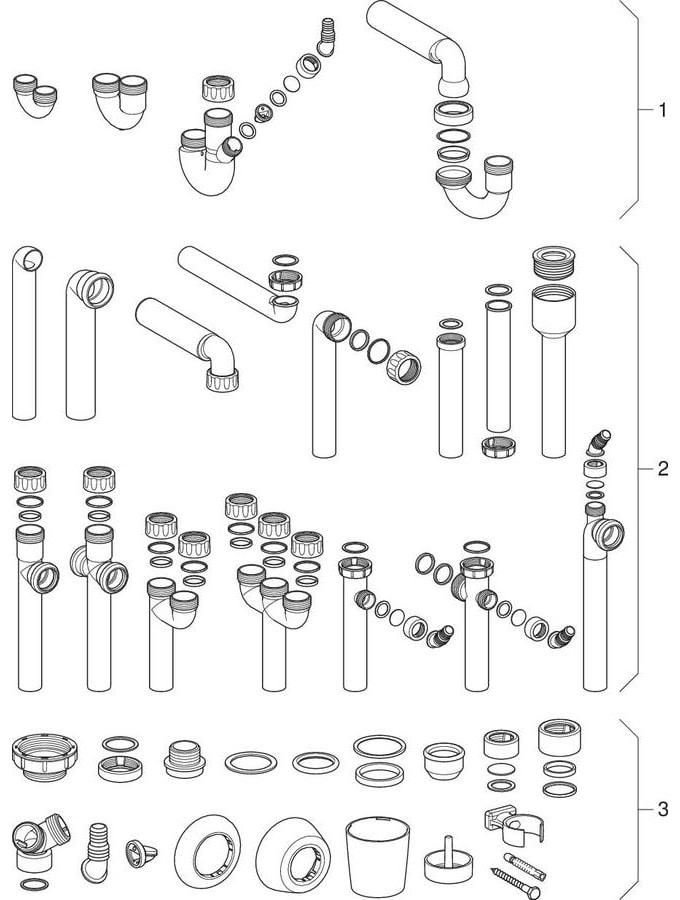 Buissifon voor bidet, apparaten, spoelbak, wastafel