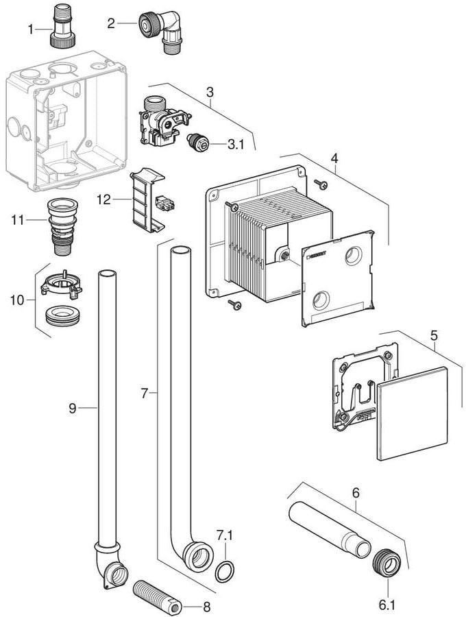 Montagesæt til urinalstyring med elektronisk skyllestyring