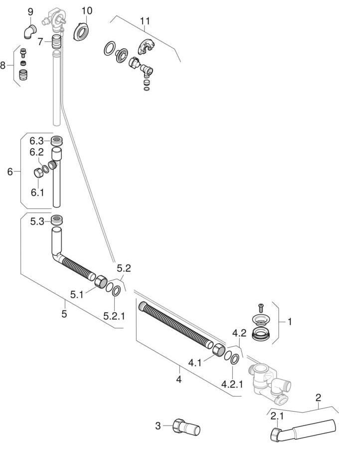 Odvodi za kade za kupanje sa aktiviranjem okretanjem i priključkom vode, d52
