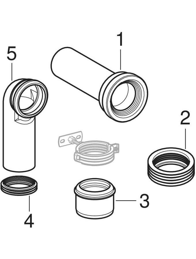 Geberit Monolith -liitäntäsarjat lattia-WC:tä varten, liitoskäyrällä 90°