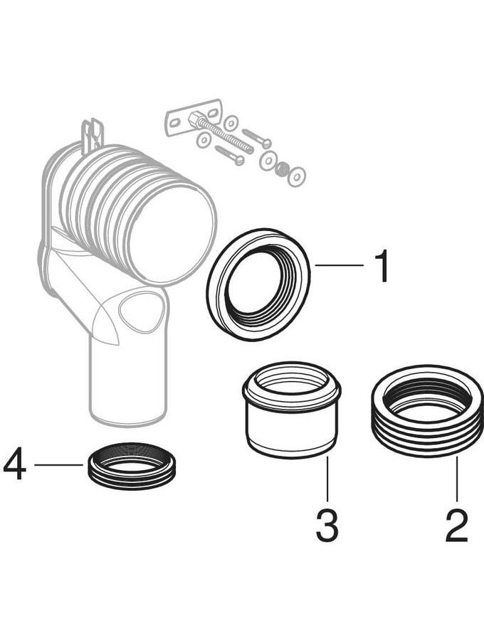 Kits de raccordementGeberit Monolith pour WC au sol, avec coude d'évacuation en P