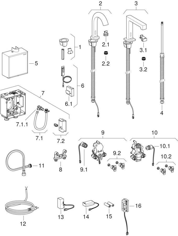 Wastafelkranen voor staande montage, met opbouw-functiebox