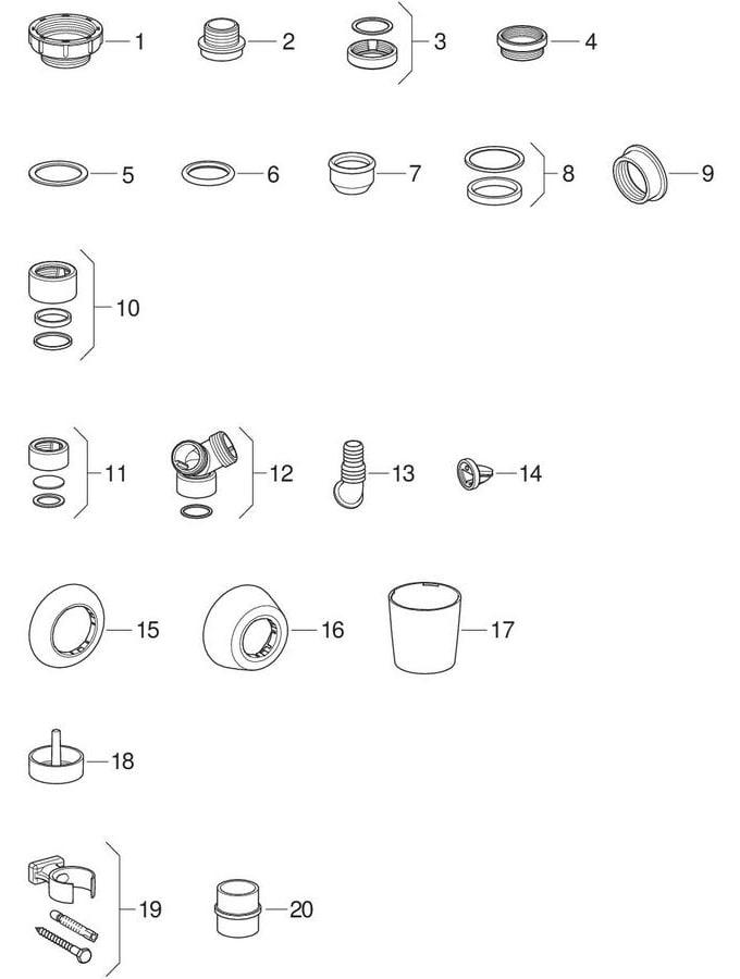 Kleine delen en toebehoren voor wasbak, uitstortgootsteen, spoelbak, bidet en urinoir
