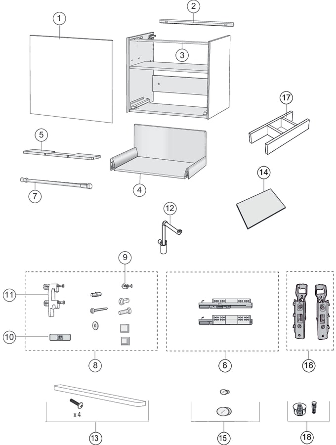 Cabinets for vanity basin, with one drawer (Ifö Sense)